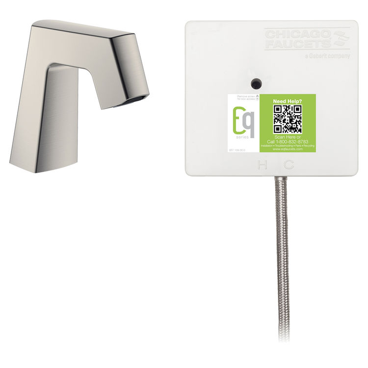 View 2 of Chicago Faucet EQ-B11A-31ABBN Chicago Faucets EQ-B11A-31ABBN EQ Brushed Nickel EQ Angular Series Lavatory Sink Faucet with Hands-free Infrared Detection