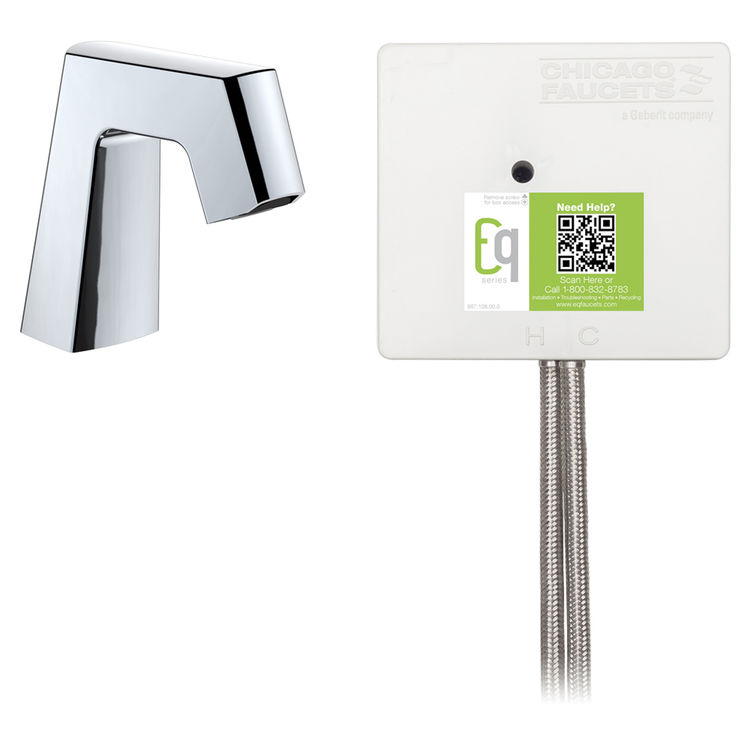View 2 of Chicago Faucet EQ-B11B-23ABCP Chicago Faucets EQ-B11B-23ABCP EQ Chrome EQ Angular Series Lavatory Sink Faucet with Hands-free Infrared Detection