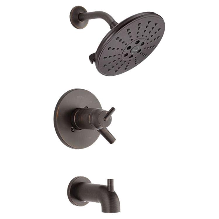 Delta T17T459-RBH2O Delta T17T459-RBH2O Trinsic TempAssure 17T Series H2Okinetic Tub & Shower Trim, Venetian Bronze