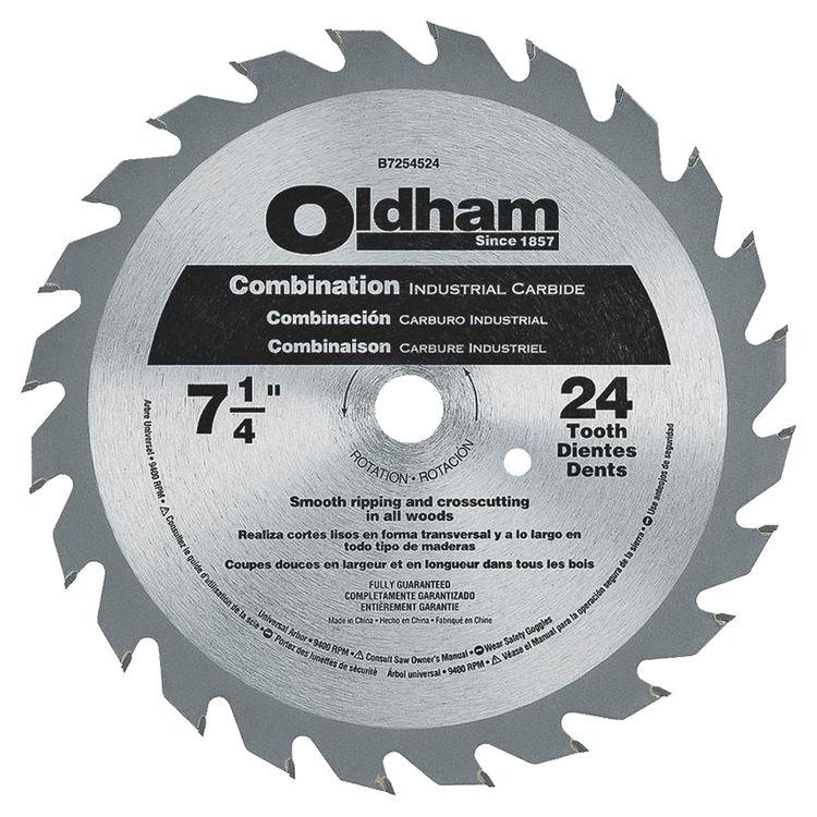 Oldham B7254524-10 Dewalt B7254524-10 Circular Saw Blade, 7-1/4 in Dia, 24 Teeth, 5/8 in Arbor