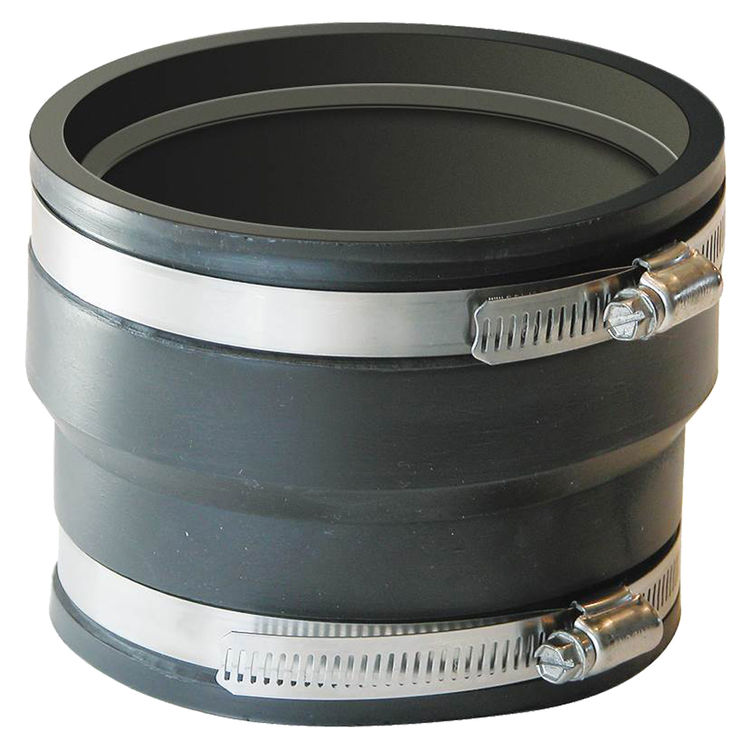 Fernco P1070-44 Fernco 1070 Flexible Pipe Stock Coupling, 4 in x 3.94 in, ADS X Cast Iron/Plastic, 4.3 psi, PVC