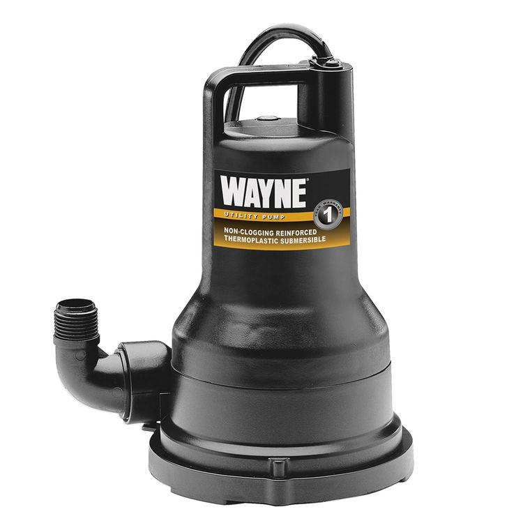 Wayne VIP15 Wayne Pumps VIP15 Non-Clogging Vortex Water Removal Utility Pump, 1700 gph, 1/5 hp, 120 V, 6.2 A, 60 Hz, 8 ft