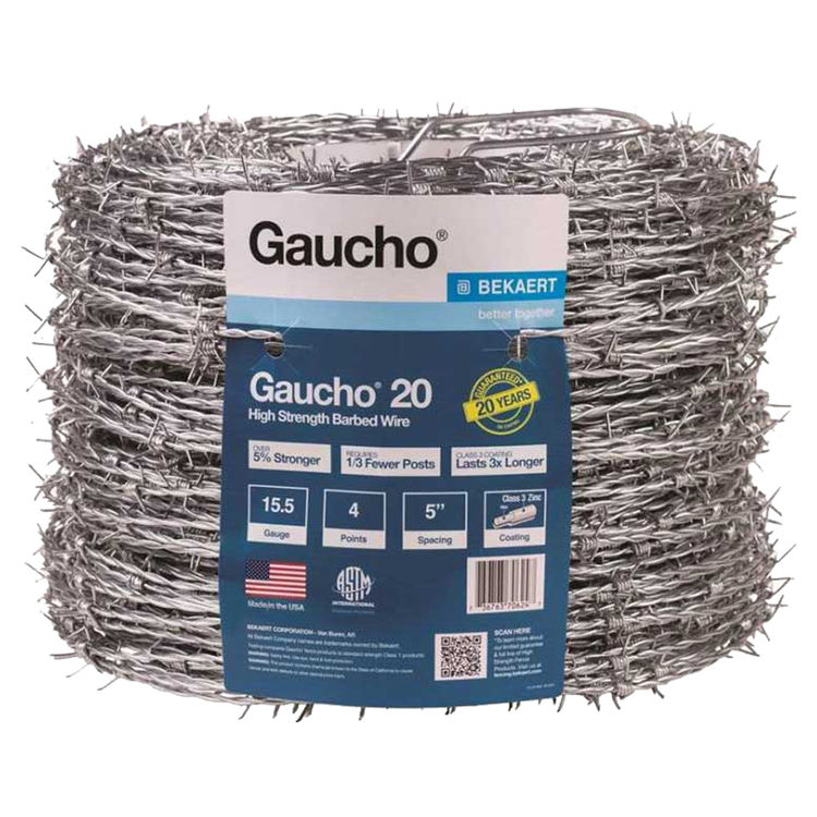 Baekaert 118293 Gaucho 118293 4-Point Barbed Wire, 1320 ft L, 5 in Barb, High Tensile Steel, Galvanized