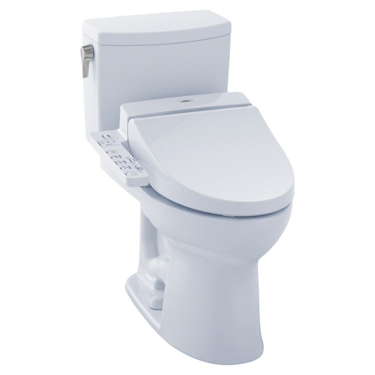 View 2 of Toto MW4542034CUFG#01 TOTO MW4542034CUFG#01 WASHLET+ Drake II 1G Two-Piece Toilet w/ C100 - Cotton White, Elongated