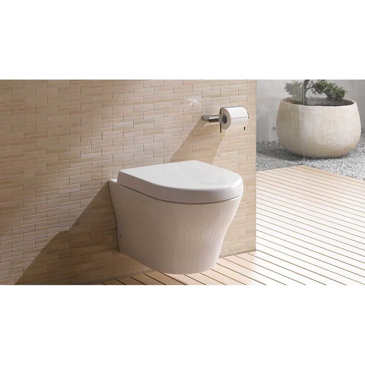 View 9 of Toto CT437FG#01 Toto MH Wall-Hung D-Shape Toilet Bowl Only, Cotton White - CT437FG#01