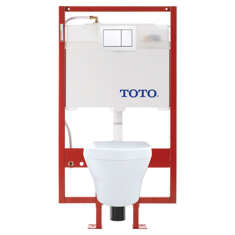 View 2 of Toto CWT437117MFG-3#01 TOTO MH Wall-Hung D-Shape Toilet and DuoFit in-wall 0.9 GPF and 1.28 GPF Dual-Flush Tank System with PEX Supply, Cotton White - CWT437117MFG-3#01
