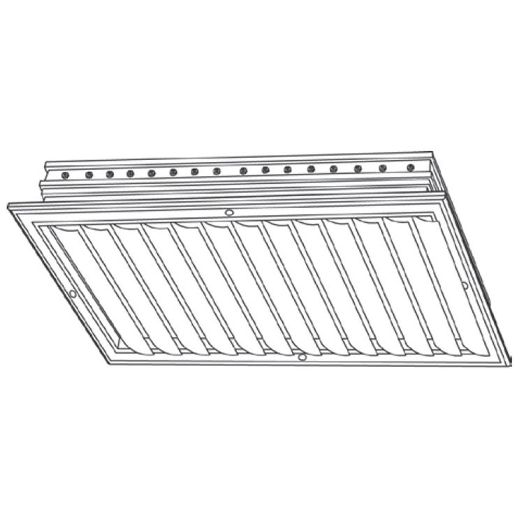 View 3 of Shoemaker CB10-6X6 6X6 Soft White One-Way Adjustable Curved Blade Diffuser (Aluminum) - Shoemaker CB10