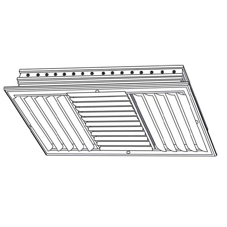 View 3 of Shoemaker CB40-10X6 10X6 Soft White Four-Way Adjustable Curved Blade Diffuser (Aluminum) - Shoemaker CB40