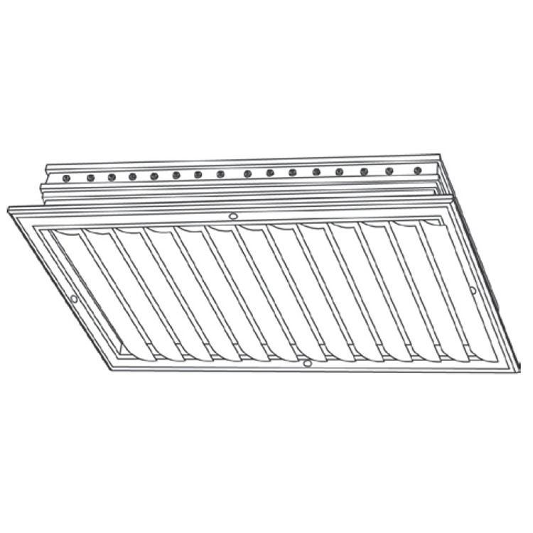 View 3 of Shoemaker CB10-16X8 16X8 Soft White One-Way Adjustable Curved Blade Diffuser (Aluminum) - Shoemaker CB10