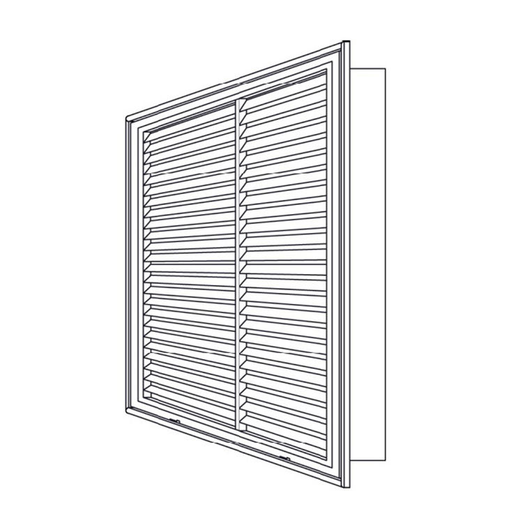 View 5 of Shoemaker 900FG-14X14 14x14 Soft White Fixed Airfoil Blade Filter Grille (Aluminum) - Shoemaker 900FG