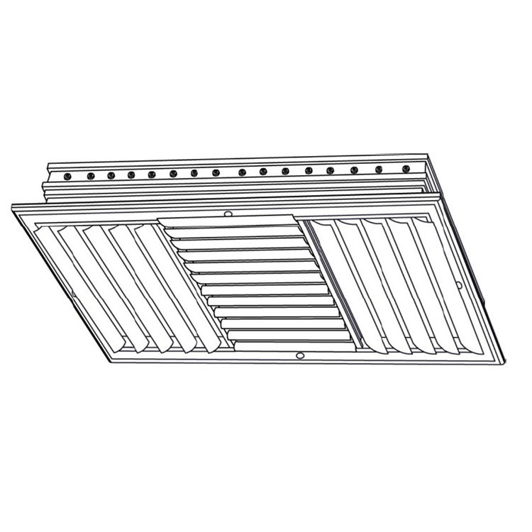 View 3 of Shoemaker CB40-24X6 24X6 Soft White Four-Way Adjustable Curved Blade Diffuser (Aluminum) - Shoemaker CB40