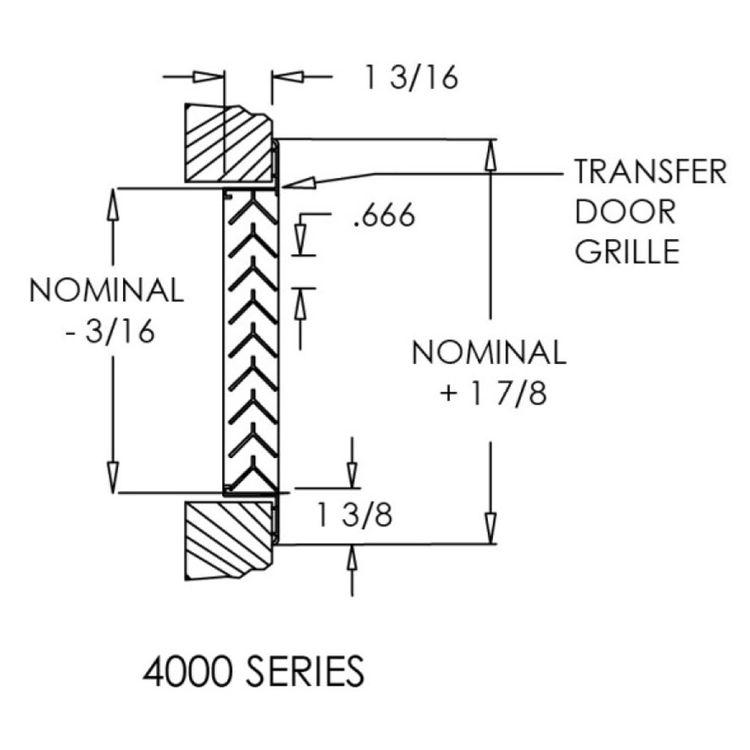 View 5 of Shoemaker 4000-16X16 16X16 Driftwood Tan Single Frame Aluminum Transfer Door Grille (Aluminum) - Shoemaker 4000