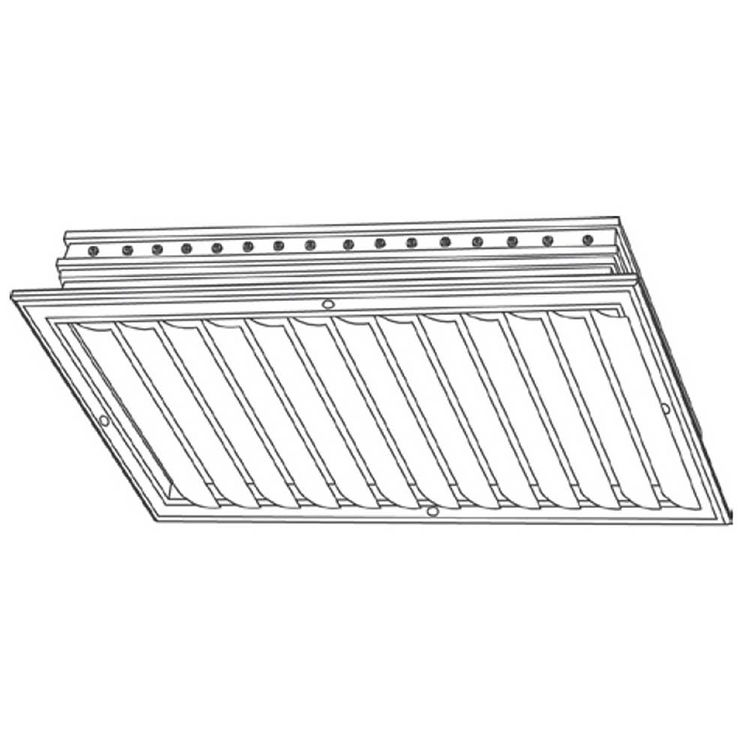 View 4 of Shoemaker CB10-0-24X12 24X12 Soft White One-Way Adjustable Curved Blade Diffuser (Aluminum) Opposed Blade Damper- Shoemaker CB10-0