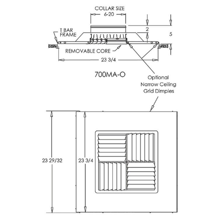 View 3 of Shoemaker 700MA-14X14 14X14 Soft White Modular Core Diffuser in T-Bar Panel - Shoemaker 700MA
