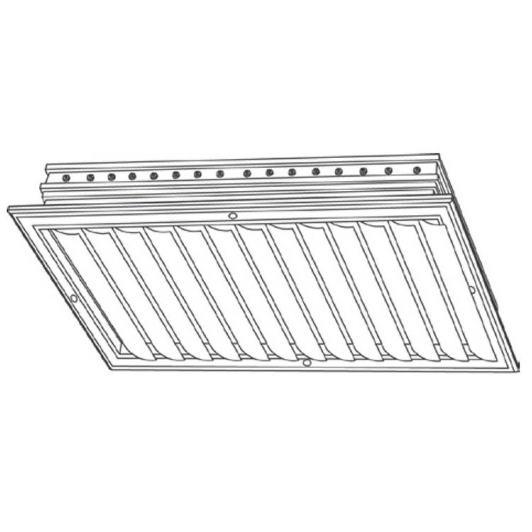View 4 of Shoemaker CB10-22X22 22X22 Soft White One-Way Adjustable Curved Blade Diffuser (Aluminum) - Shoemaker CB10