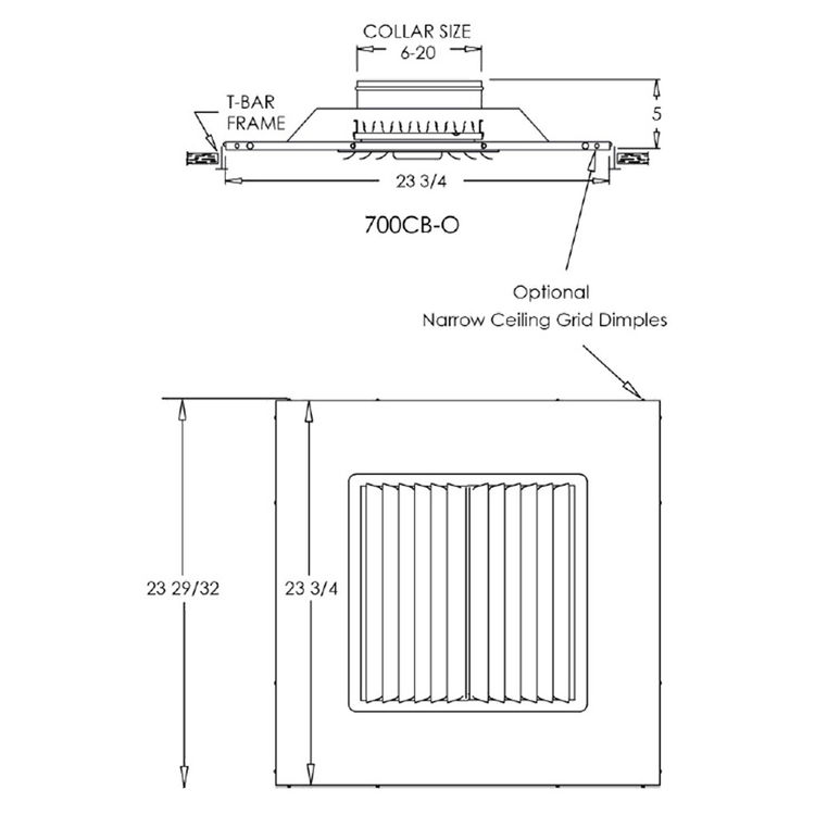 View 3 of Shoemaker 700CB40-9X9-9 9X9-9 Soft White Adjustable Curved Blade Diffuser in T-Bar Panel - Shoemaker 700CB40 Series