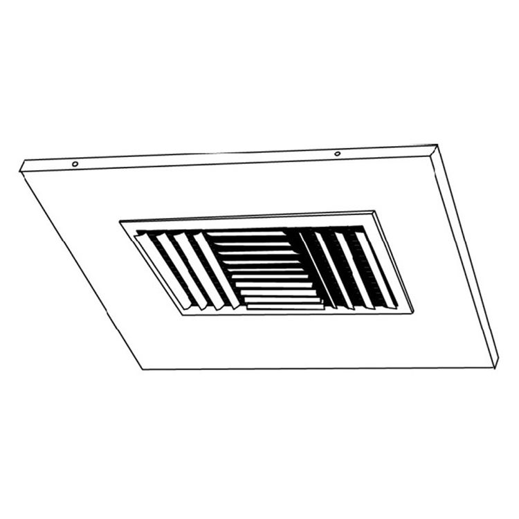 View 4 of Shoemaker 700CB40-0-9X9 9X9 Soft White Adjustable Curved Blade Diffuser in T-Bar Panel Opposed Blade Damper - Shoemaker 700CB40-0 Series
