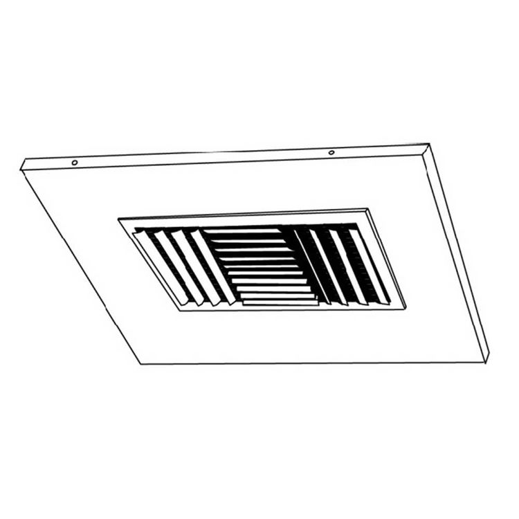 View 3 of Shoemaker 700CB40-0-9X9-6 9X9-6 Soft White Adjustable Curved Blade Diffuser in T-Bar Panel Opposed Blade Damper - Shoemaker 700CB40-0 Series