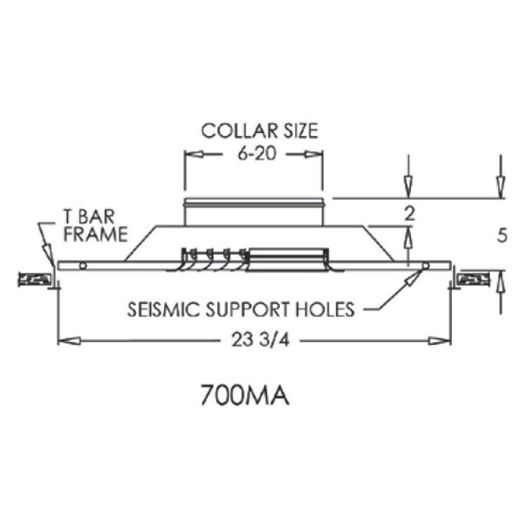View 3 of Shoemaker 700MA0-12X12-7 12X12-7 Soft White Modular Core Diffuser in T-Bar Panel Opposed Blade Damper- Shoemaker 700MA-0