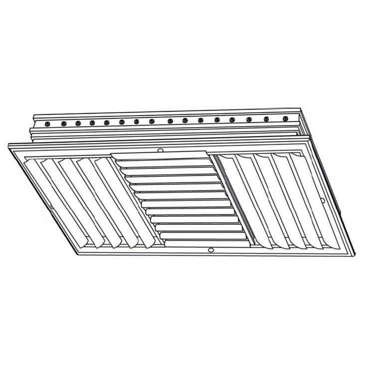 View 5 of Shoemaker CB40-22X22 22X22 Soft White Four-Way Adjustable Curved Blade Diffuser (Aluminum) - Shoemaker CB40