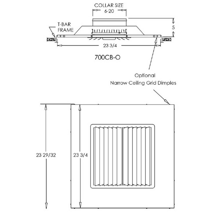 View 4 of Shoemaker 700CB40-0-14X14-7 14X14-7 Soft White Adjustable Curved Blade Diffuser in T-Bar Panel Opposed Blade Damper- Shoemaker 700CB40-0 Series