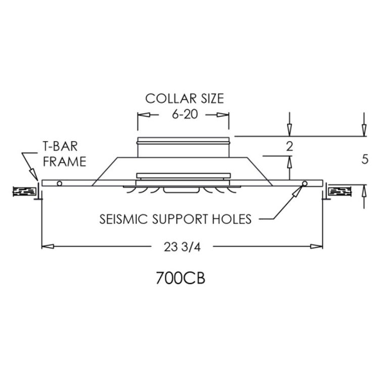 View 3 of Shoemaker 700CB40-0-20X20 20X20 Soft White Adjustable Curved Blade Diffuser in T-Bar Panel Opposed Blade Damper - Shoemaker 700CB40-0 Series