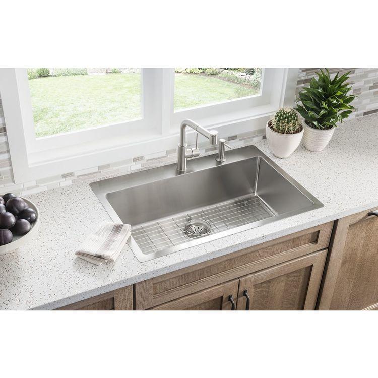 View 3 of Elkay ECTSRS33229BG4 Elkay ECTSRS33229BG4 Crosstown Stainless Steel Single Bowl Dual Mount Sink Kit - 4 Holes