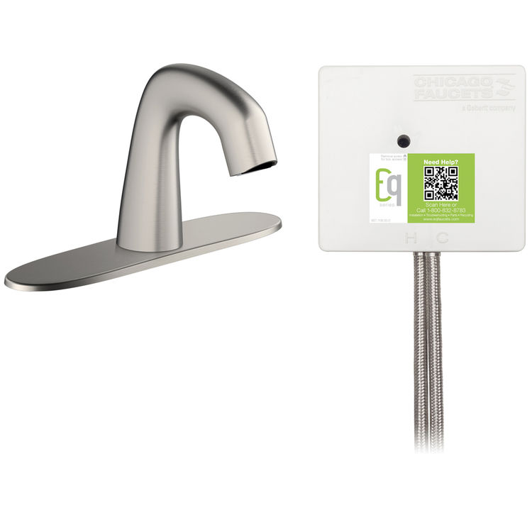 View 3 of Chicago Faucet EQ-A13A-13ABBN Chicago Faucets EQ-A13A-13ABBN EQ Brushed Nickel EQ Curved Series Lavatory Sink Faucet with Hands-free Infrared Detection