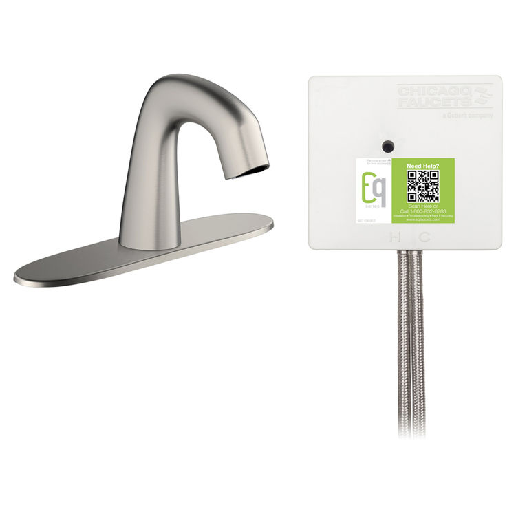 View 3 of Chicago Faucet EQ-A13B-23ABBN Chicago Faucets EQ-A13B-23ABBN EQ Brushed Nickel EQ Curved Series Lavatory Sink Faucet with Hands-free Infrared Detection
