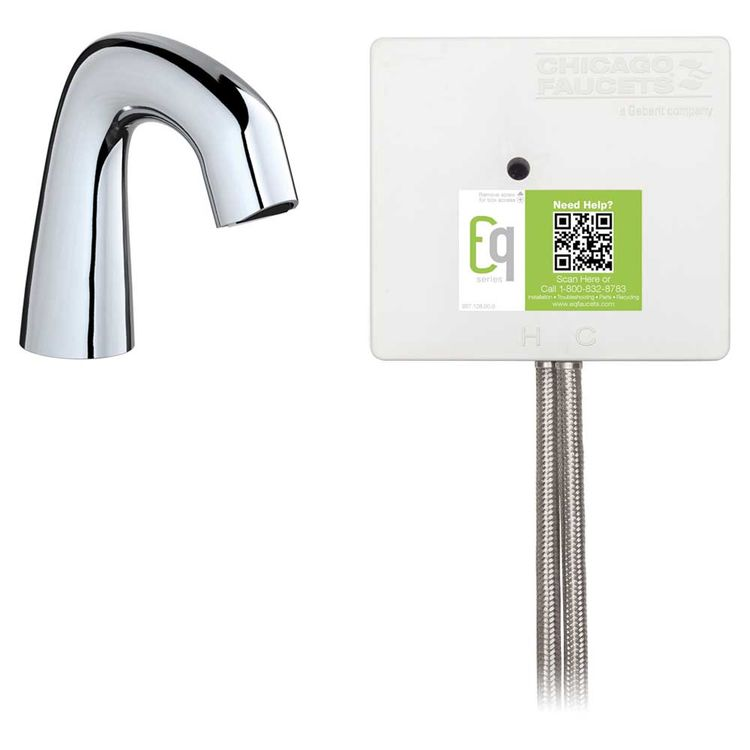 View 3 of Chicago Faucet EQ-D11A-32ABCP-MP Chicago Faucets EQ-D11A-32ABCP-MP EQ Chrome EQ Curved Series Lavatory Sink Faucet with Hands-free Infrared Detection - Master Pack of 6