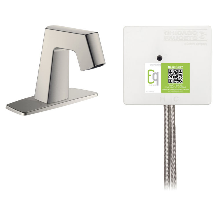 View 3 of Chicago Faucet EQ-B12A-52ABBN Chicago Faucets EQ-B12A-52ABBN EQ Brushed Nickel EQ Angular Series Lavatory Sink Faucet with Hands-free Infrared Detection