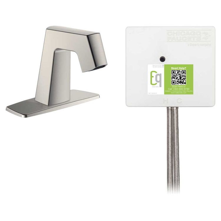 View 3 of Chicago Faucet EQ-B12A-12ABBN Chicago Faucets EQ-B12A-12ABBN EQ Brushed Nickel EQ Angular Series Lavatory Sink Faucet with Hands-free Infrared Detection