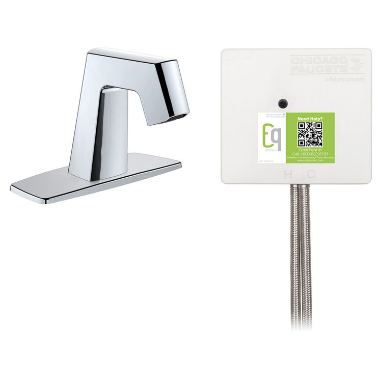 View 3 of Chicago Faucet EQ-B12B-21ABCP Chicago Faucets EQ-B12B-21ABCP EQ Chrome EQ Angular Series Lavatory Sink Faucet with Hands-free Infrared Detection