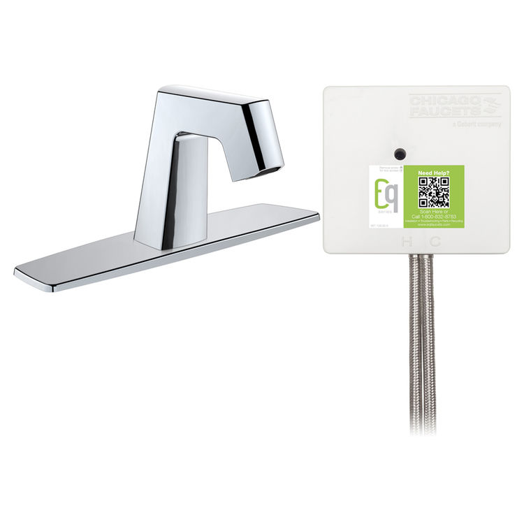 View 3 of Chicago Faucet EQ-B13A-52ABCP Chicago Faucets EQ-B13A-52ABCP EQ Chrome EQ Angular Series Lavatory Sink Faucet with Hands-free Infrared Detection