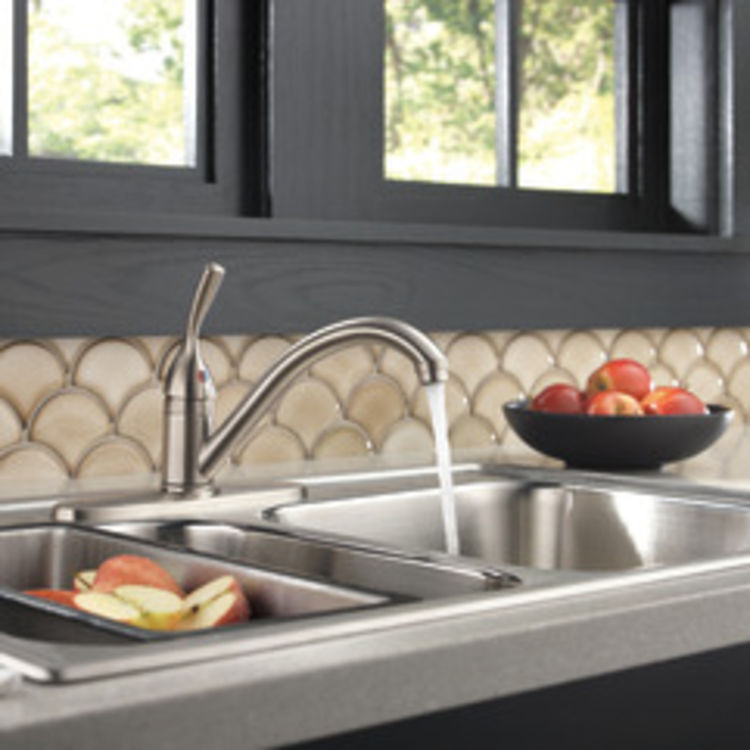 View 4 of Delta 100-SS-DST Delta 100-SS-DST Brilliance Stainless Single Handle Kitchen Faucet