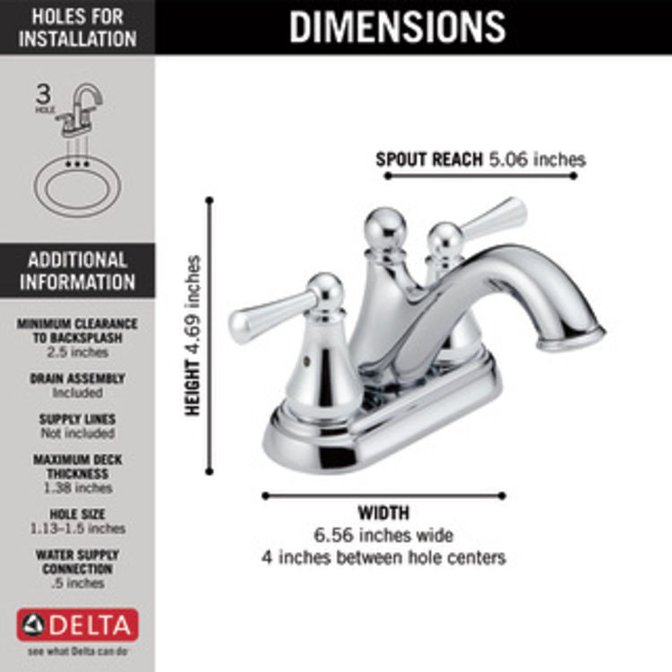 View 6 of Delta 25999LF Delta 25999LF Haywood Centerset Bathroom Faucet with Pop-Up Drain, Chrome
