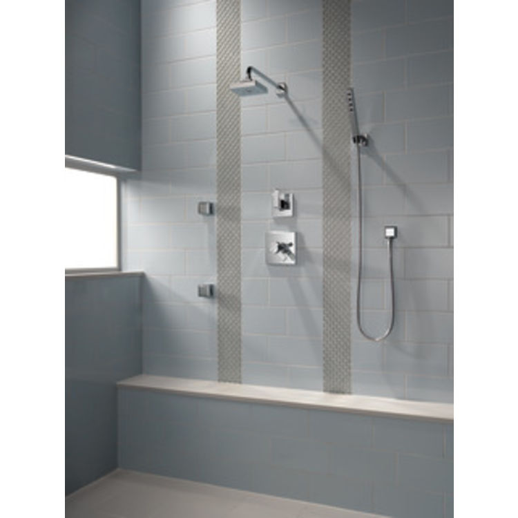 View 3 of Delta RP70171-SS15 Delta RP70171-SS15 ARA ingle Function Shower Head with H2Okinetic Technology, 1.5 GPM -  Brilliance Stainless