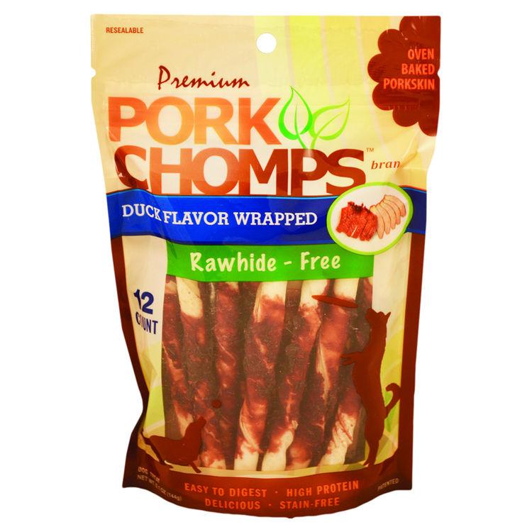 Scott Pet DT491 Pork Chomps DT491 Mini Twists, 12 Count, 0.32 oz Bag, Duck