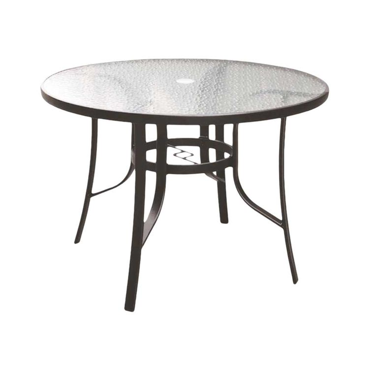 Seasonal Trends T6C42AO1BK Living Accents Belvedere Dining Table 42 in W X 29 in D X 42 in H, Round, Glass