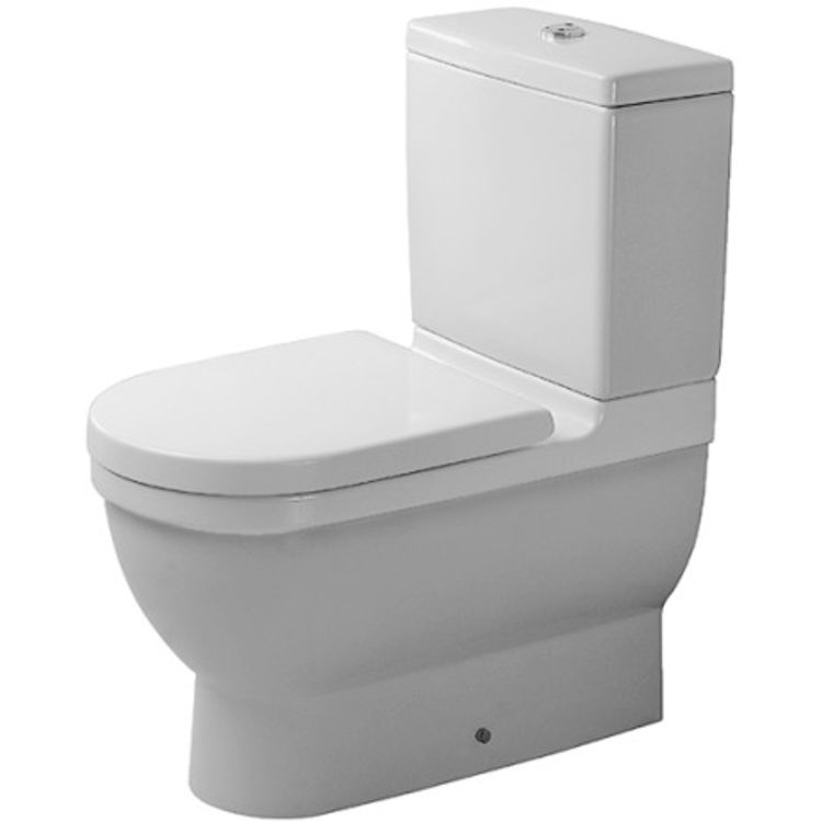 Duravit 128092092 Duravit 0128092092 Starck 3 Dual Flush Two-Piece Floor Mounted Close Coupled Elongated Toilet in White Finish