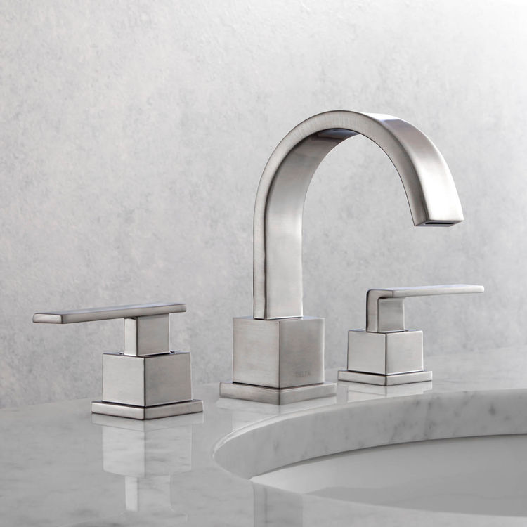 View 3 of Delta 3553LF-SS Delta 3553LF-SS Vero Widespread Two Handle Bathroom Faucet in Stainless