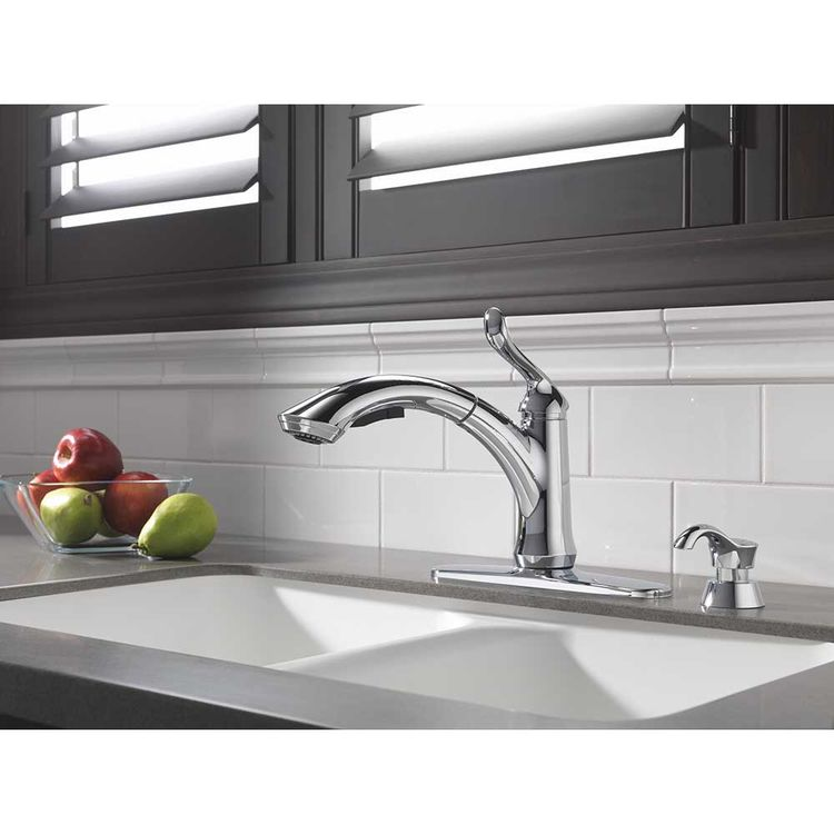 View 4 of Delta 4353-DST Delta 4353-DST Linden Single Handle Pull-Out Kitchen Faucet (Chrome)