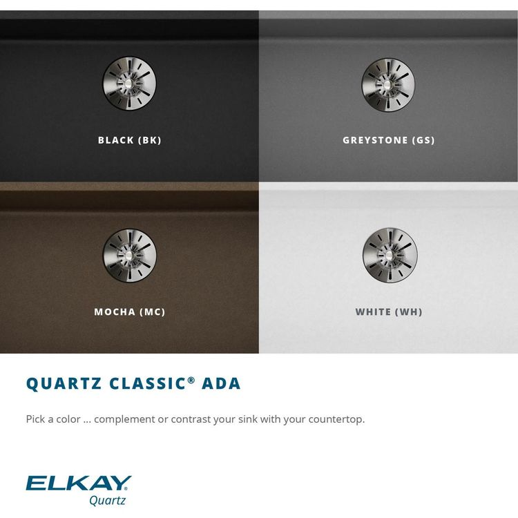 View 5 of Elkay ELGUAD2519PDWH0 Elkay  ELGUAD2519PDWH0 Quartz Classic Single Bowl Undermount ADA Sink with Perfect Drain, 25