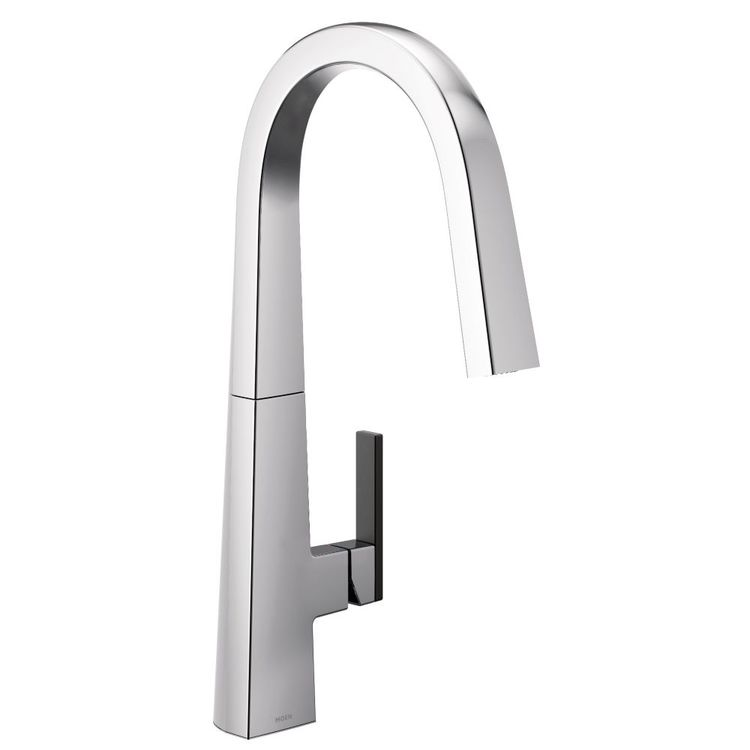 View 3 of Moen S75005 Moen S75005 Nio One-Handle Pulldown Kitchen Faucet, Chrome (Handle Accent Included)
