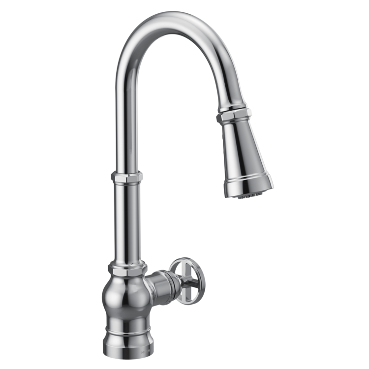 View 3 of Moen S72003 Moen S72003 Paterson Single-Handle Pulldown Kitchen Faucet - Chrome, Lever/Wheel Handles Included