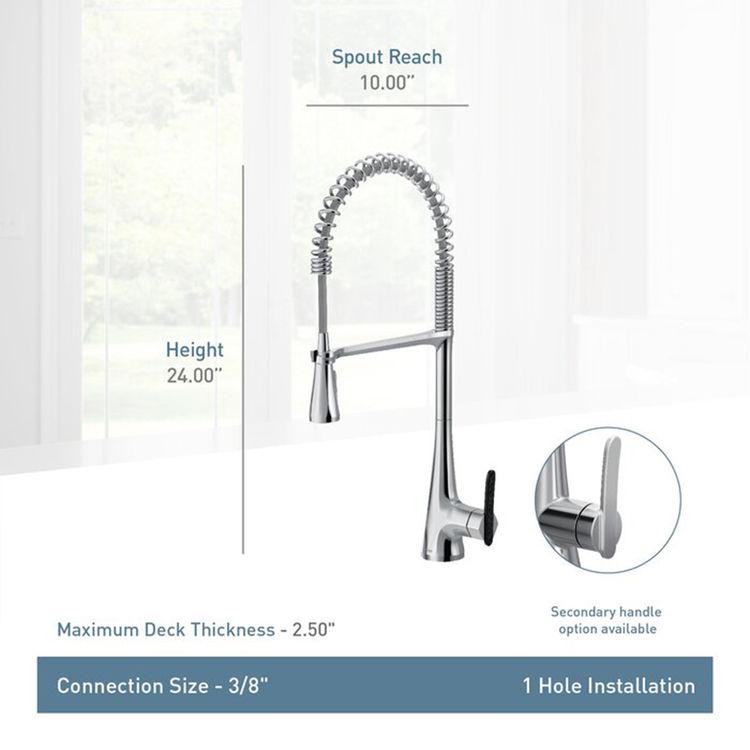 View 4 of Moen S5235 Moen S5235 Sinema One Handle Semi Pro Kitchen Faucet - Chrome