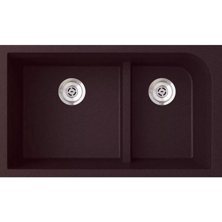 Swanstone Quld 3322 170 Espresso Granite Undermount Double Bowl Sink