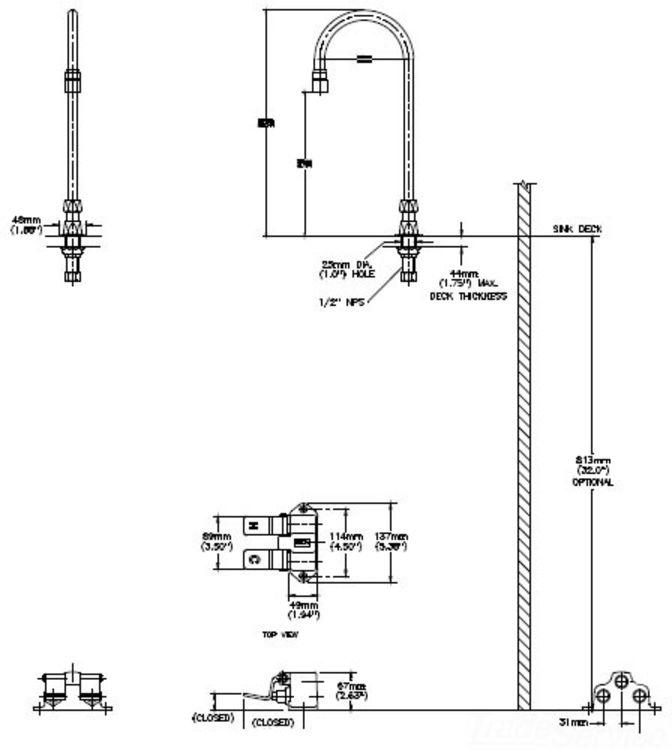 Delta Faucet R2910 Mixlf Commercial Mechanical Mixing: Delta Model 54T5432A-R6 Chrome Foot Pedal Valve W/Faucet