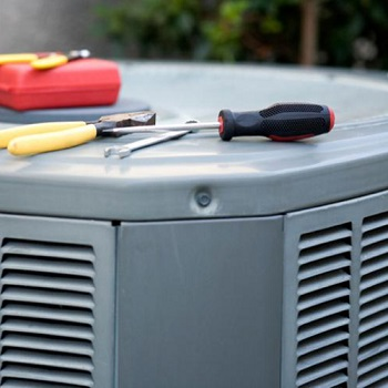 AC unit with tools on top