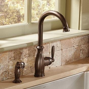 oil rubbed bronze moen brantford kitchen faucet installed